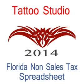 Florida Non-Sales Tax Tattoo Artist Bookkeeping Spreadsheets for 2014 year end