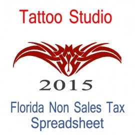 Florida Non-Sales Tax Tattoo Artist Bookkeeping Spreadsheets for 2015 year end