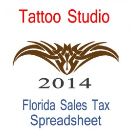 Florida Tattoo Studio Accounts & Sales Tax Spreadsheet for 2014 year end