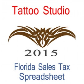 Florida Tattoo Studio Accounts & Sales Tax Spreadsheet for 2015 year end