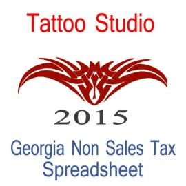 Georgia Non-Sales Tax Tattoo Artist Bookkeeping Spreadsheets for 2015 year end