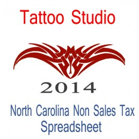 North Carolina Non-Sales Tax Tattoo Artist Bookkeeping Spreadsheets for 2014 year end