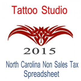 North Carolina Non-Sales Tax Tattoo Artist Bookkeeping Spreadsheets for 2015 year end