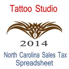 North Carolina Tattoo Studio Accounts & Sales Tax Spreadsheet for 2014 year end