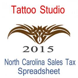 North Carolina Tattoo Studio Accounts & Sales Tax Spreadsheet for 2015 year end