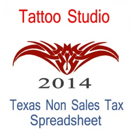 Texas Non-Sales Tax Tattoo Artist Bookkeeping Spreadsheets for 2014 year end