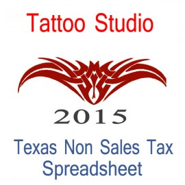 Texas Non-Sales Tax Tattoo Artist Bookkeeping Spreadsheets for 2015 year end