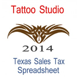 Texas Tattoo Studio Accounts & Sales Tax Spreadsheet for 2014 year end