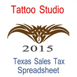 Texas Tattoo Studio Accounts & Sales Tax Spreadsheet for 2015 year end