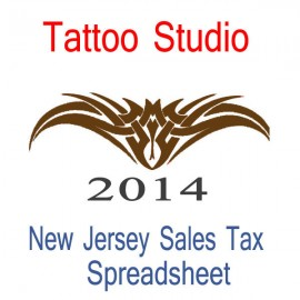 New Jersey Tattoo Studio Accounts & Sales Tax Spreadsheet for 2014 year end