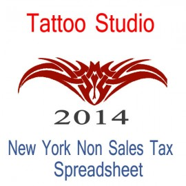 New York Non-Sales Tax Tattoo Artist Bookkeeping Spreadsheets for 2014 year end