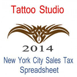 New York City Tattoo Studio Accounts & Sales Tax Spreadsheet for 2014 year end