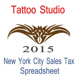 New York City Tattoo Studio Accounts & Sales Tax Spreadsheet for 2015 year end