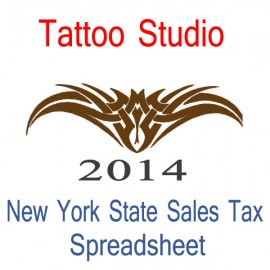 New York State Tattoo Studio Accounts & Sales Tax Spreadsheet for 2014 year end