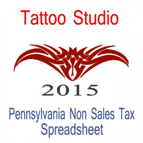 Pennsylvania Non-Sales Tax Tattoo Artist Bookkeeping Spreadsheets for 2015 year end