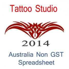 Australia Tattoo Artist Non-GST Bookkeeping Spreadsheet for 2014 year end