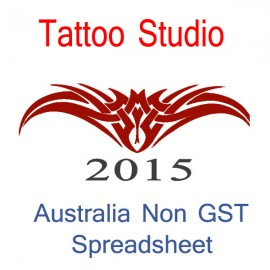 Australia Tattoo Artist Non-GST Bookkeeping Spreadsheet for 2015 year end