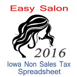 Iowa Non-Sales Tax Hairdresser Bookkeeping Spreadsheets for 2016 year end