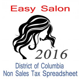 District of Columbia Non-Sales Tax Hairdresser Bookkeeping Spreadsheets for 2016 year end