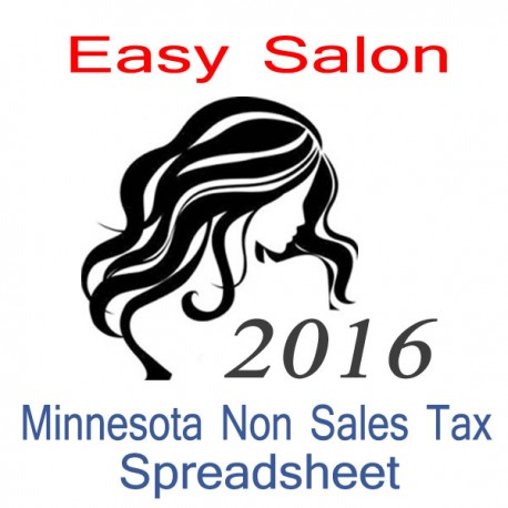 Minnesota Non-Sales Tax Hairdresser Bookkeeping Spreadsheets for 2016 year end