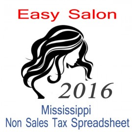 Mississippi Non-Sales Tax Hairdresser Bookkeeping Spreadsheets for 2016 year end