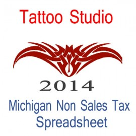 Michigan Non-Sales Tax Tattoo Artist Bookkeeping Spreadsheets for 2014 year end