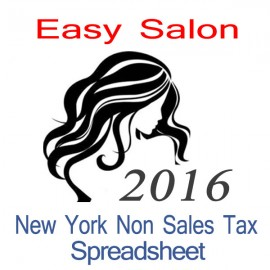 New York Non-Sales Tax Hairdresser Bookkeeping Spreadsheets for 2016 year end