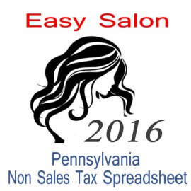 Pennsylvania Non-Sales Tax Hairdresser Bookkeeping Spreadsheets for 2016 year end