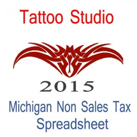 Michigan Non-Sales Tax Tattoo Artist Bookkeeping Spreadsheets for 2015 year end