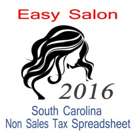 South Carolina Non-Sales Tax Hairdresser Bookkeeping Spreadsheets for 2016 year end