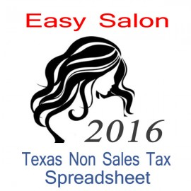 Texas Non-Sales Tax Hairdresser Bookkeeping Spreadsheets for 2016 year end
