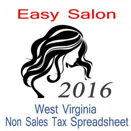 West Virginia Non-Sales Tax Hairdresser Bookkeeping Spreadsheets for 2016 year end
