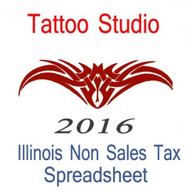 Illinois Non-Sales Tax Tattoo Artist Bookkeeping Spreadsheets for 2016 year end