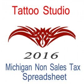 Michigan Non-Sales Tax Tattoo Artist Bookkeeping Spreadsheets for 2016 year end