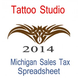 Michigan Tattoo Studio Accounts & Sales Tax Spreadsheet for 2014 year end