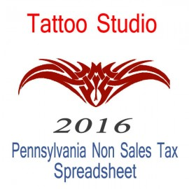 Pennsylvania Non-Sales Tax Tattoo Artist Bookkeeping Spreadsheets for 2016 year end