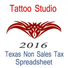 Texas Non-Sales Tax Tattoo Artist Bookkeeping Spreadsheets for 2016 year end