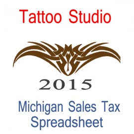 Michigan Tattoo Studio Accounts & Sales Tax Spreadsheet for 2015 year end