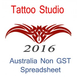 Australia Tattoo Artist Non-GST Bookkeeping Spreadsheet for 2016 year end