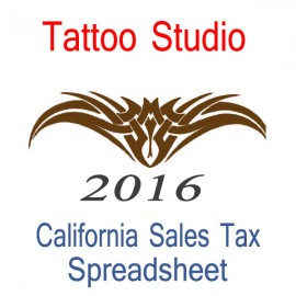 California Tattoo Studio Accounts & Sales Tax Spreadsheet for 2016 year end