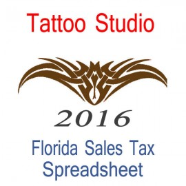 Florida Tattoo Studio Accounts & Sales Tax Spreadsheet for 2016 year end