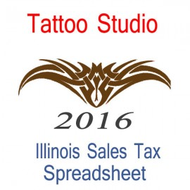 Illinois Tattoo Studio Accounts & Sales Tax Spreadsheet for 2016 year end