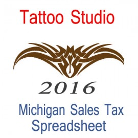 Michigan Tattoo Studio Accounts & Sales Tax Spreadsheet for 2016 year end