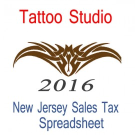 New Jersey Tattoo Studio Accounts & Sales Tax Spreadsheet for 2016 year end