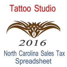 North Carolina Tattoo Studio Accounts & Sales Tax Spreadsheet for 2016 year end