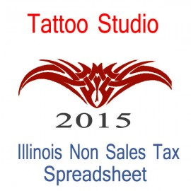 Illinois Non-Sales Tax Tattoo Artist Bookkeeping Spreadsheets for 2015 year end