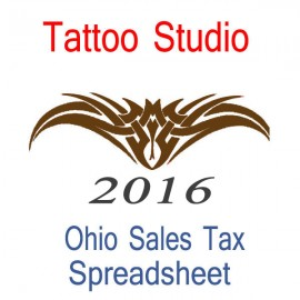 Ohio Tattoo Studio Accounts & Sales Tax Spreadsheet for 2016 year end