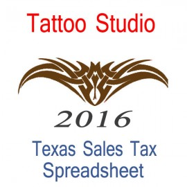 Texas Tattoo Studio Accounts & Sales Tax Spreadsheet for 2016 year end