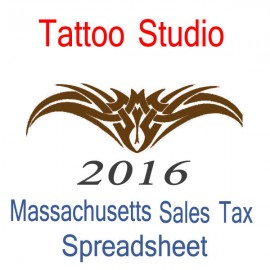 Massachusetts Tattoo Studio Accounts & Sales Tax Spreadsheet for 2016 year end