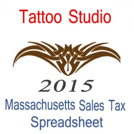 Massachusetts Tattoo Studio Accounts & Sales Tax Spreadsheet for 2015 year end